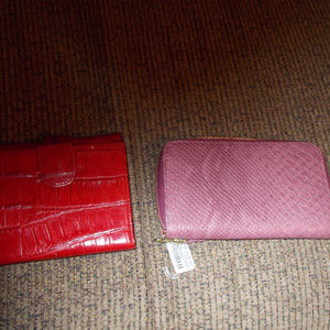 red brighton wallet and a mauve wallet
